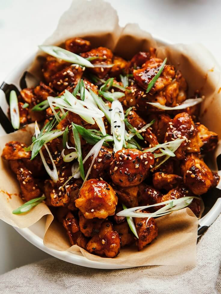 14 Sticky and Crispy Cauliflower