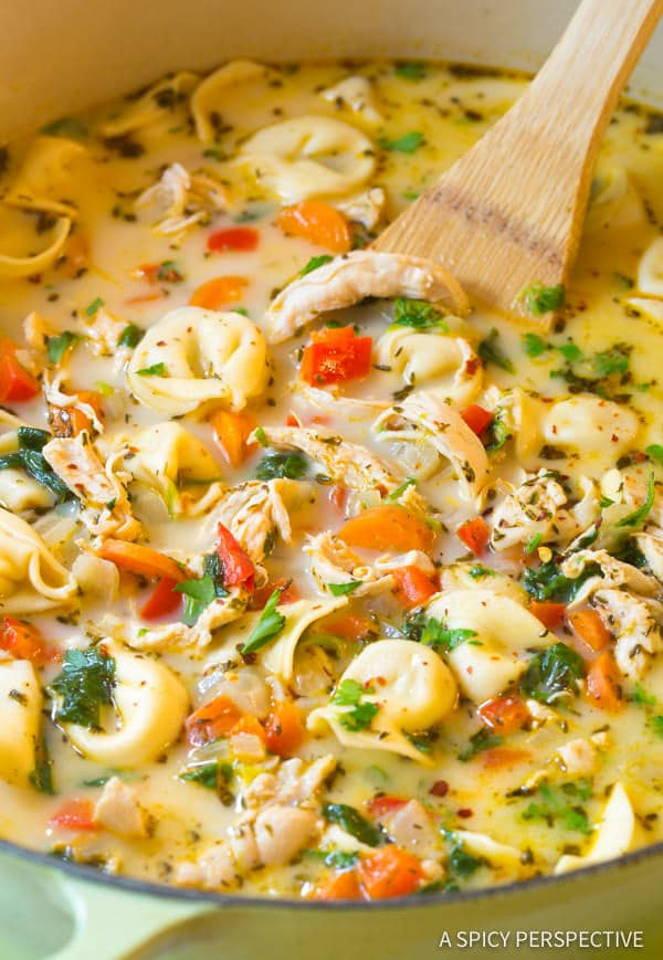 15 Light and Creamy Chicken Tortellini Soup