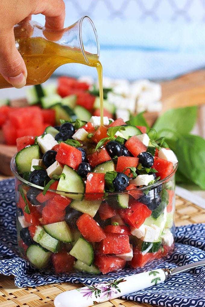 15 Watermelon Blueberry Feta Salad with Cucumbers