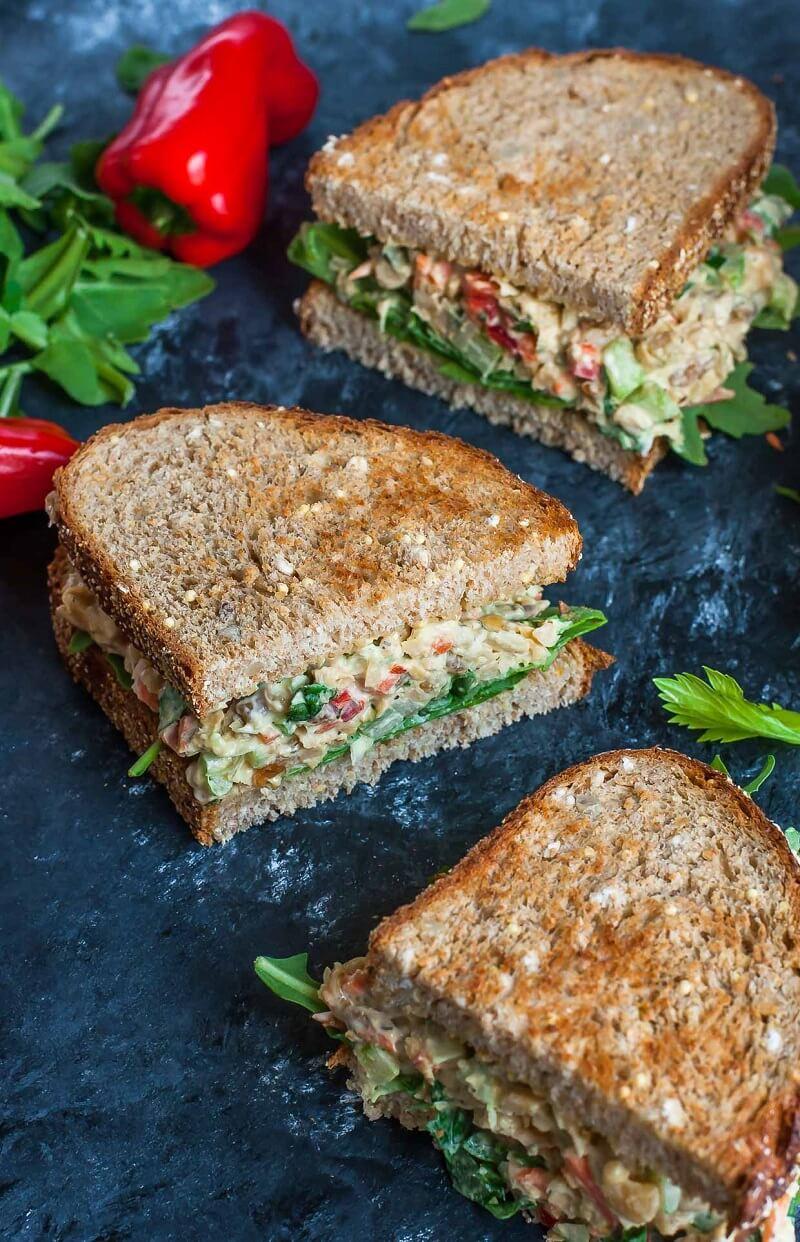 3 Garden Veggie Chickpea Salad Sandwich