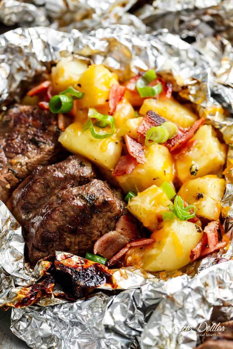 3 Garlic Steak Cheesy Bacon Potato Hash Foil Packs