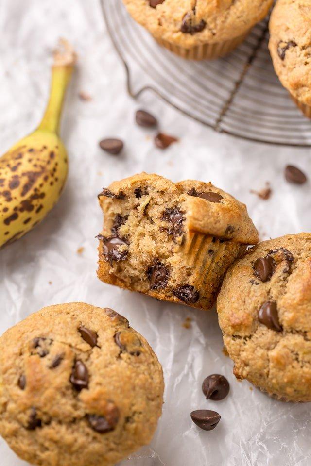 3 Healthy Banana Chocolate Chip Muffins