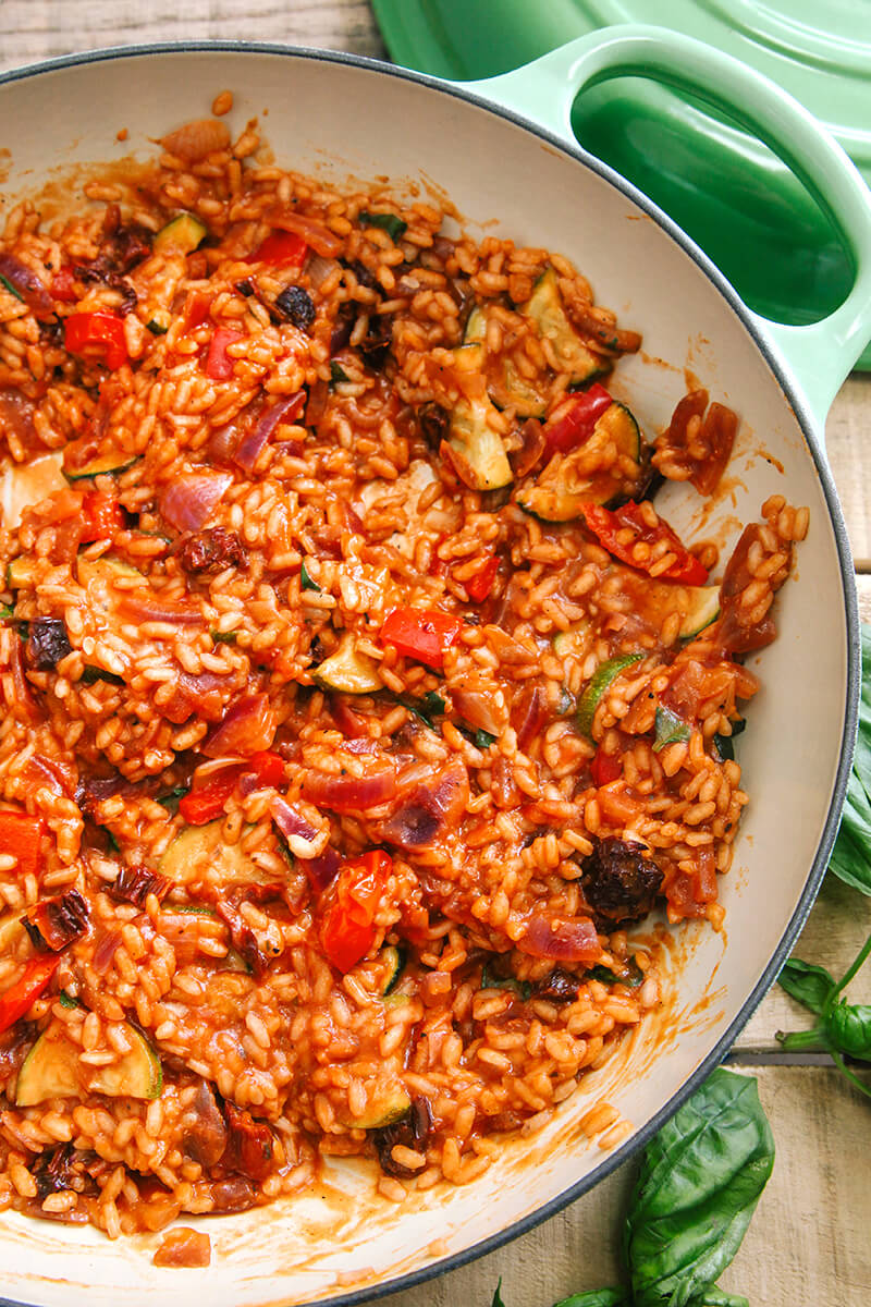 3 Tomato Roasted Mediterranean Vegetable Risotto