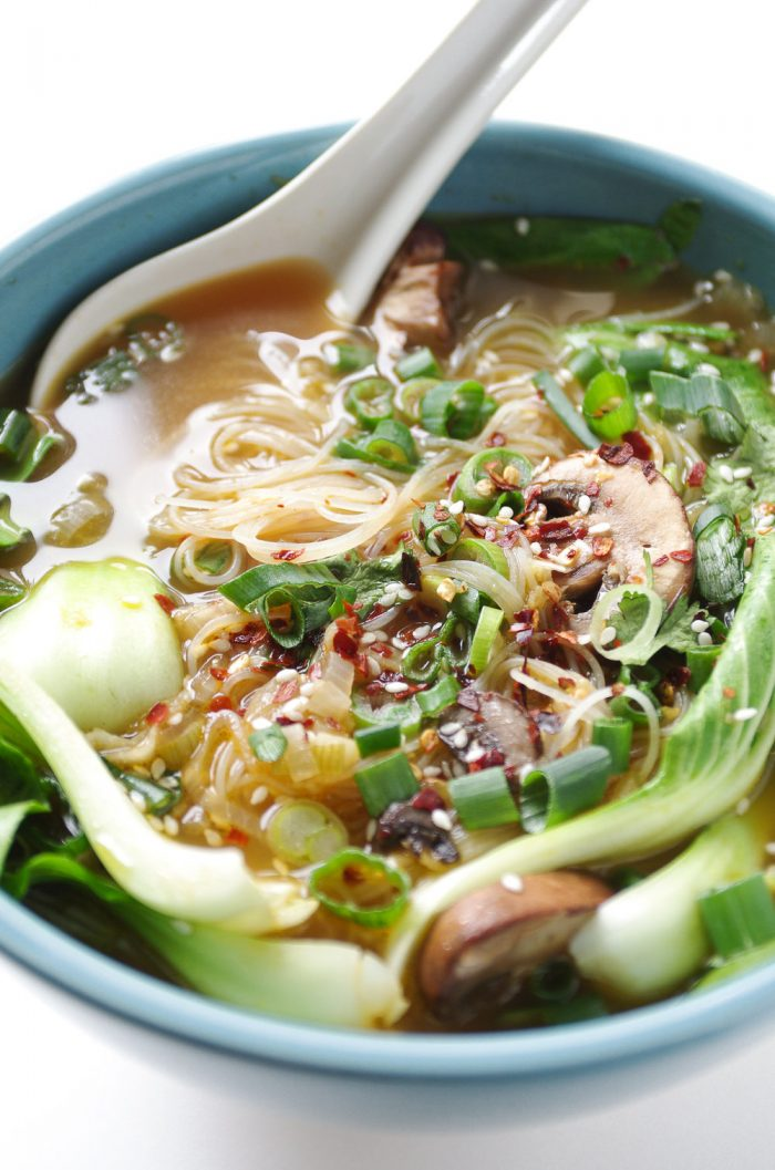4 Ginger Garlic Noodle Soup with Bok Choy
