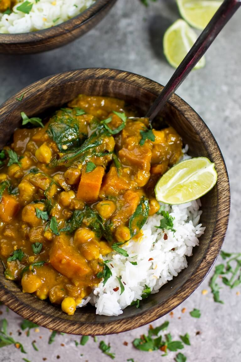4 Vegan Sweet Potato Chickpea and Spinach Coconut Curry