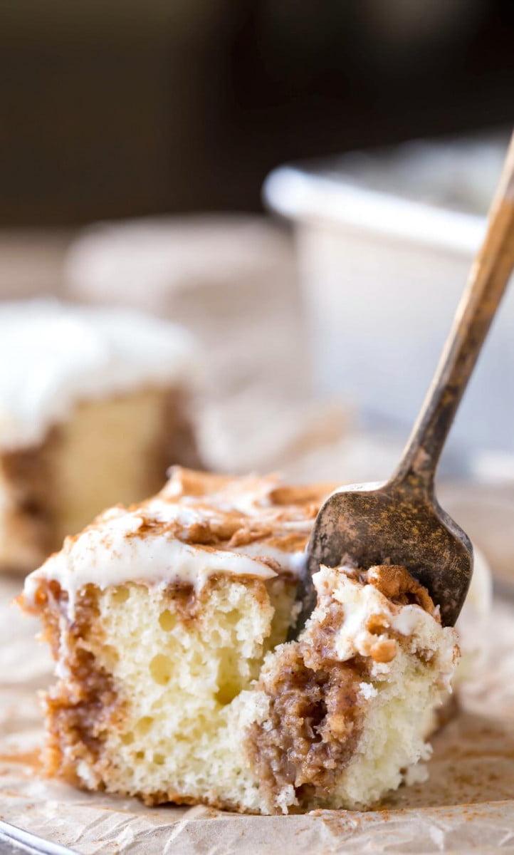 6 Cinnamon Roll Poke Cake