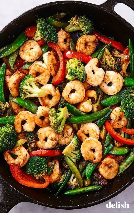 7 Broccoli Pea Pepper and Shrimp Stir Fry
