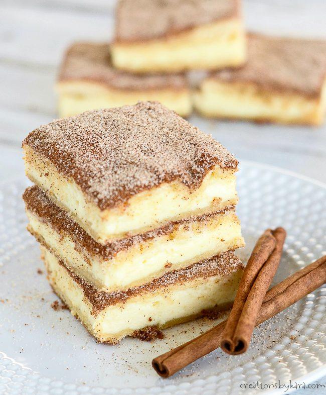 7 Churro Cheesecake Bars