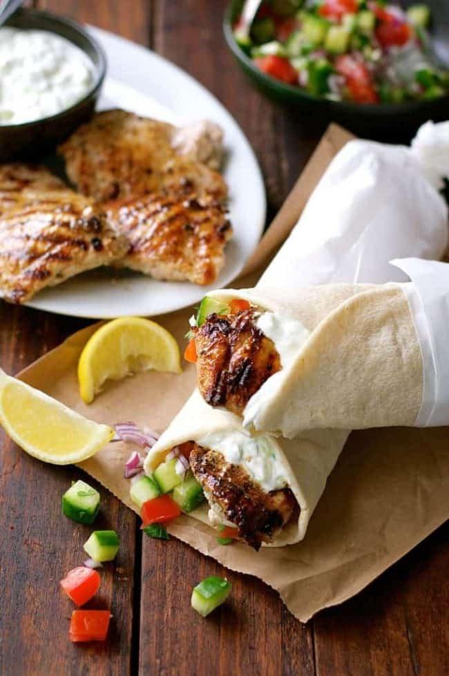 7 Greek Chicken Gyros with Tzaziki
