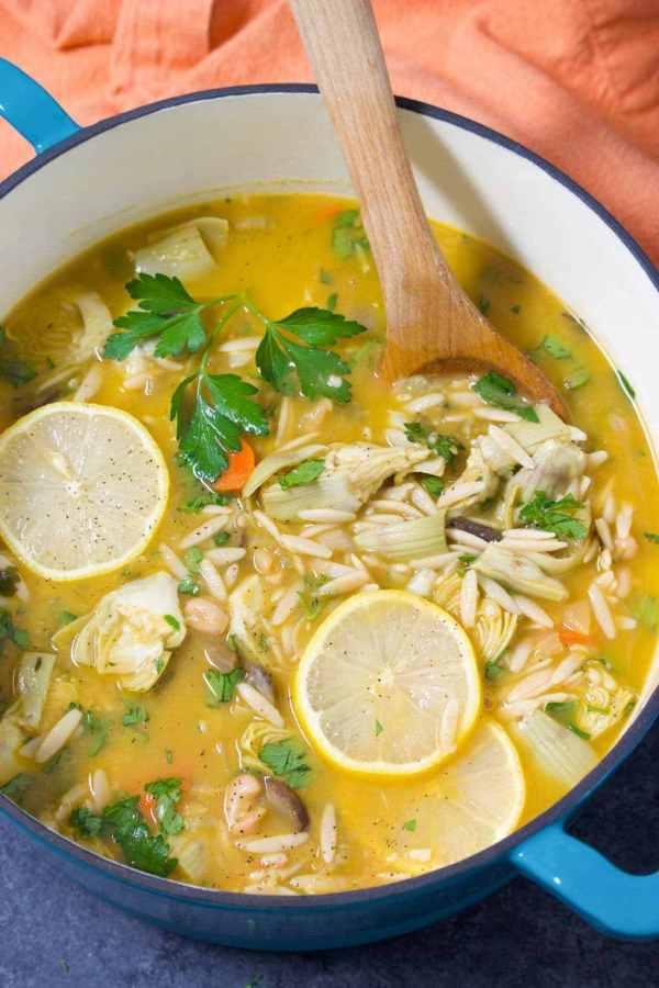 7 Lemon Artichoke Orzo Soup