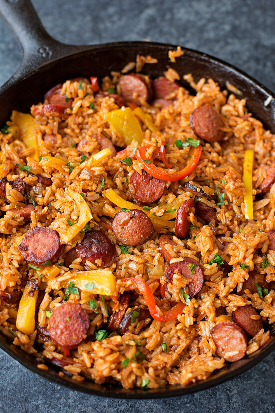 7 Sausage Pepper and Rice Skillet