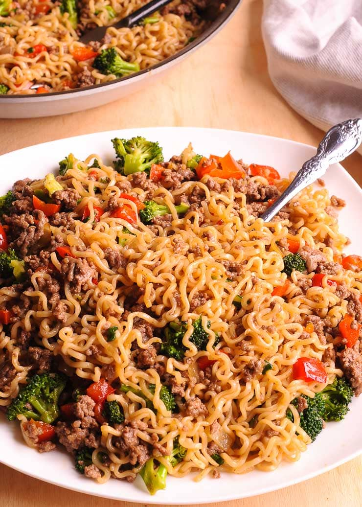 8 Beef and Ramen Noodle Stir Fry