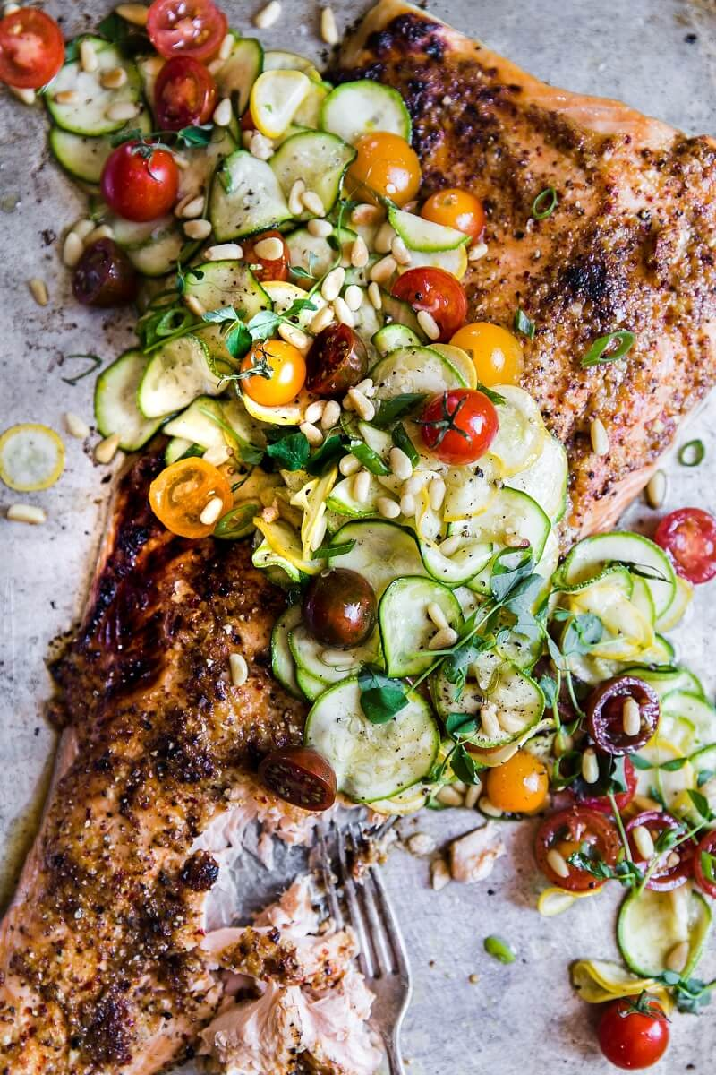 8 Honey Mustard Salmon with Summer Vegetable Salad