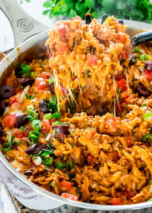 8 One Pot Cheesy Orzo Taco