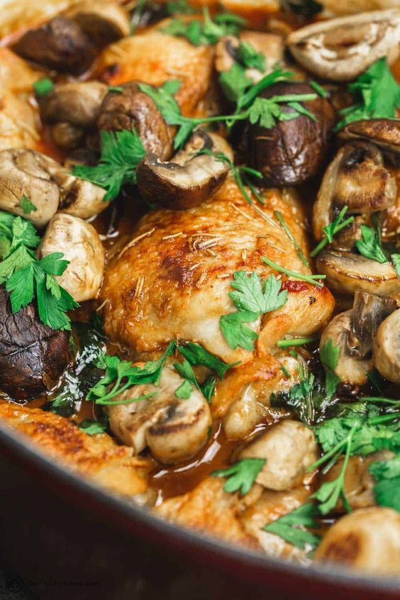 Wine-Braised Chicken Thighs Recipe with Shallots and Mushrooms