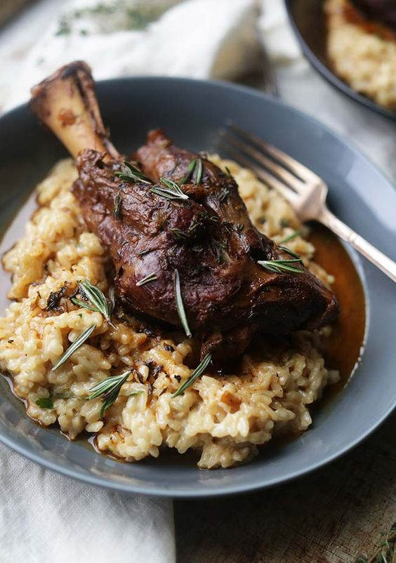 Braised Lamb Shanks with Parmesan Risotto
