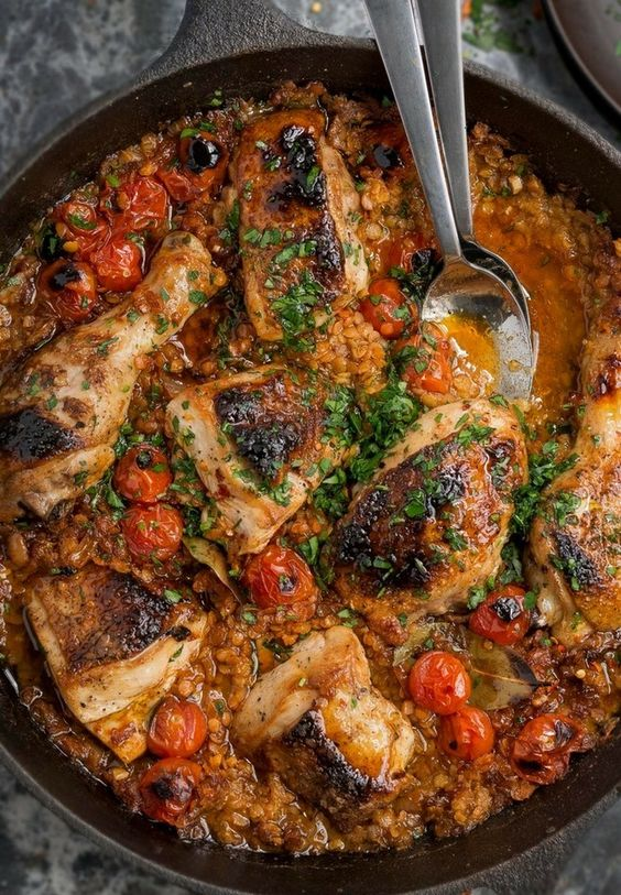 Moroccan Braised Chicken, Lentils, Smoked Paprika & Tomato